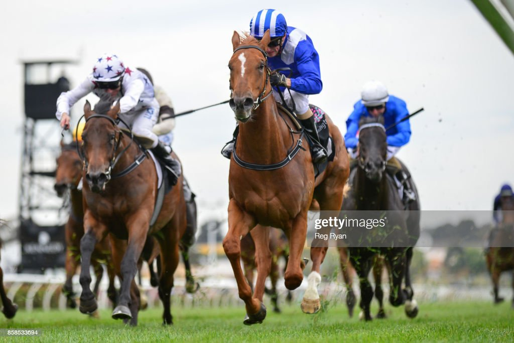 Nomothaj ridden by Stephen Baster wins the Maribyrnong Trial Stakes at Flemington Racecourse on October 07, 2017 in Flemington, Australia.