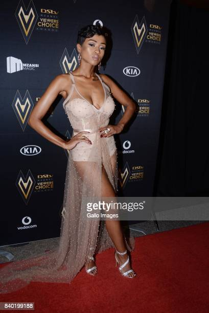 Nomuzi Mabena during the DStv Mzansi Viewers Choice Awards event at the Sandton Convention Centre on August 26 2017 in Sandton South Africa Hosted by...