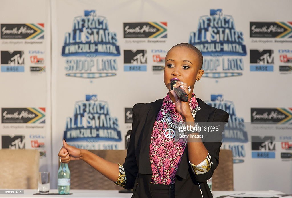 Nomuzi Mabhena at the press conference for the MTV Africa All Stars Concert on May17, 2013 in Durban, South Africa. Snoop Dog or Snoop Lion as he is now also known will be the headline act for the Concert.