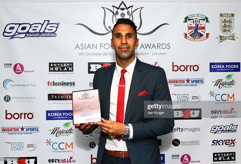 Non League Player Award winner Jasbir Singh poses during the Second Annual Asian Football Awards at Wembley Stadium on October 8, 2013 in London, England.