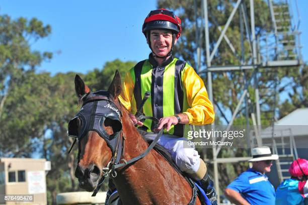 None Left ridden by Craig Robertson returns to the mounting yard after winning the Echuca Newsagency BM58 Handicap at Echuca Racecourse on November...