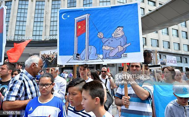 Nongovernmental organizations gather in Brussels to voice their anger at China's perceived discrimination against Muslims on July 5 2015 In midJune...