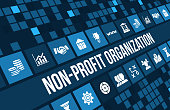 Non-profit organization  concept image with business icons and copyspace.For more variation of this image please visit my portfolio
