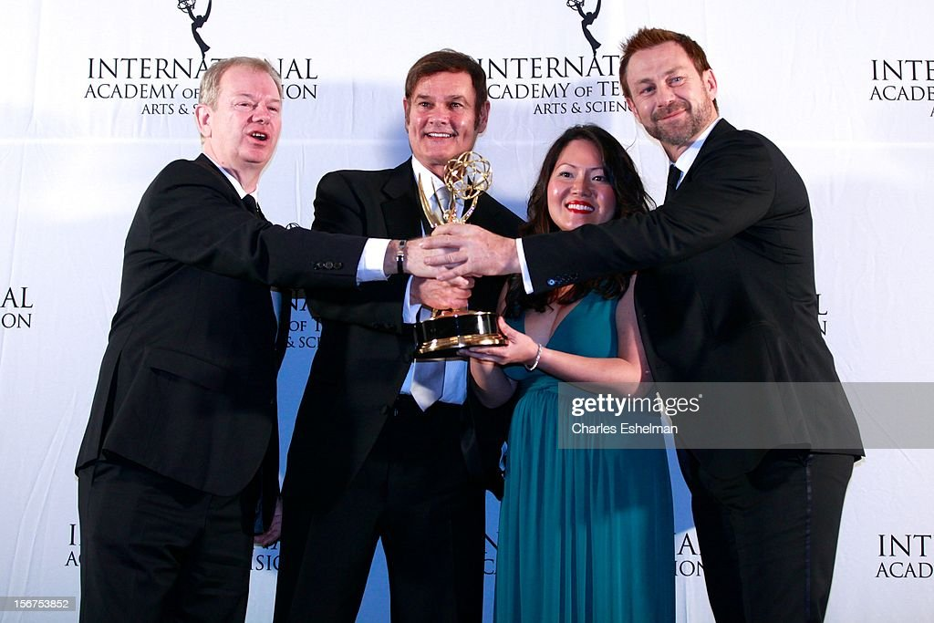 Non-Scripted Entertainment winners Zane Bair, Michael McKay and presenters Joko Winterscheitd and Klass Heufer attend the 40th International Emmy Awards at Mercury Ballroom at the New York Hilton on November 19, 2012 in New York City.