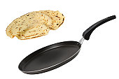 Frying pan with flying pancake