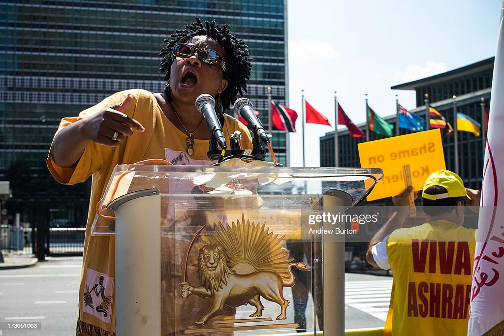 Nontombi Naomi Tutu, daughter of Anglican Bishop and South African social rights activist Desmond Tutu, speaks during a protest outside the United Nations (U.N.) during a U.N. Security Council meeting on July 16, 2013 in New York City. The protest centered around the recent attacks against exiled Iranian dissidents living in Iraq. Members of The People's Mujahedeen of Iran (MEK) have been living in Camp Ashraf and Camp Camp Liberty, both in Iraq; the protesters allege that the United Nations Assistance Mission in Iraq has not done enough to protect the exiled dissidents from the recent attacks.