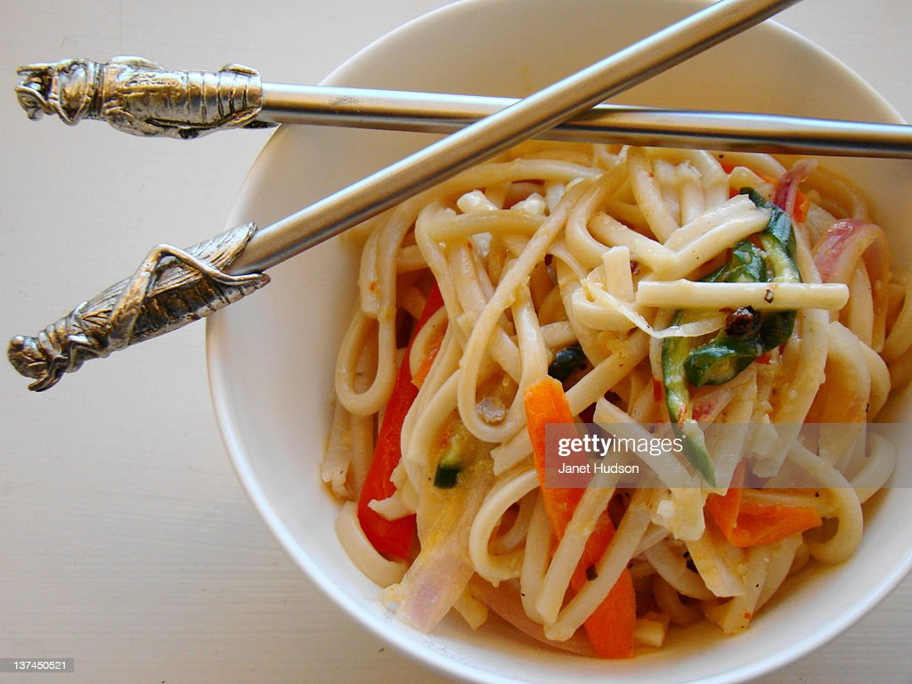 Noodle with carrot and bitter melon : Stock Photo