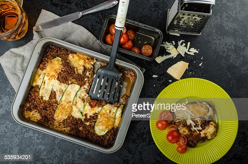 Noodle-Free Zucchini Ribbon Lasagna : Stock Photo