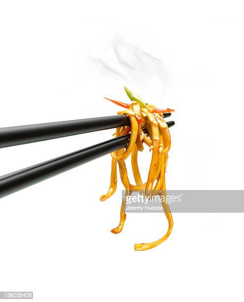 Noodles on a chopstick