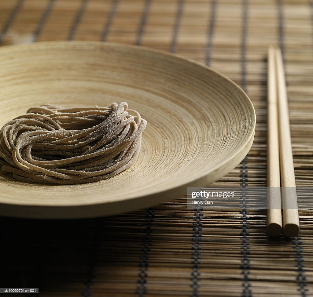 Noodles on plate, close-up : Stock Photo