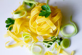 Tower of dry tagliatelle portion