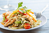 rice noodles with chicken or turkey ,cherry tomato, carrot, red pepper,green beans, parsley and sesame seeds