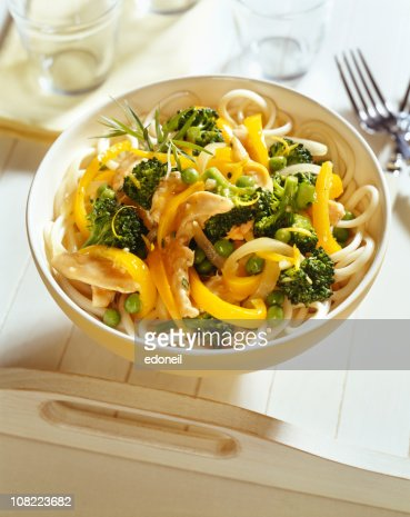 Noodles with Brocooli and Chicken on Tray : Stock Photo