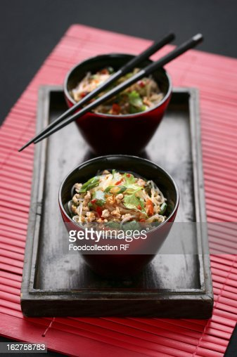 Noodles with pork : Stock Photo
