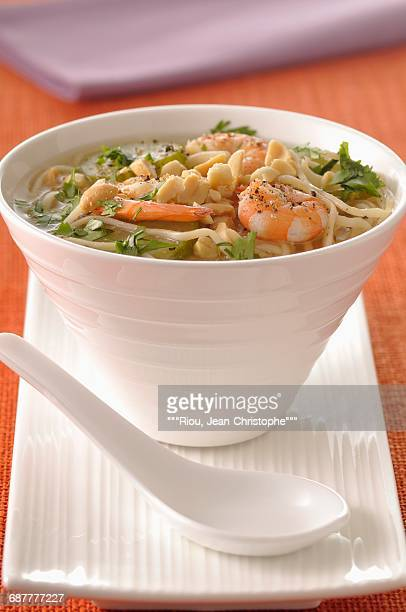 Noodle,shrimp and peanut soup