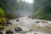 The boulder strewn Nooksack River is a river in the northwest part of the U.S. state of Washington. It drains an area of the Cascade Range around Mount Baker, near the Canadian border.