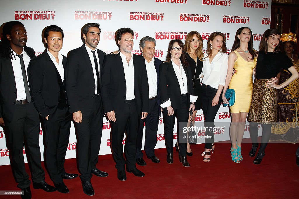 Noom Diawara, Frederic Chau, Ary Abittan,Christian Clavie, Chantal Lauby, Elodie Fontan, Julia Piaton, Frederique Bel and Emilie Caen attend the 'Qu'est-ce Qu'on A Fait Au Bon Dieu?' Paris Premiere at Le Grand Rex on April 10, 2014 in Paris, France.