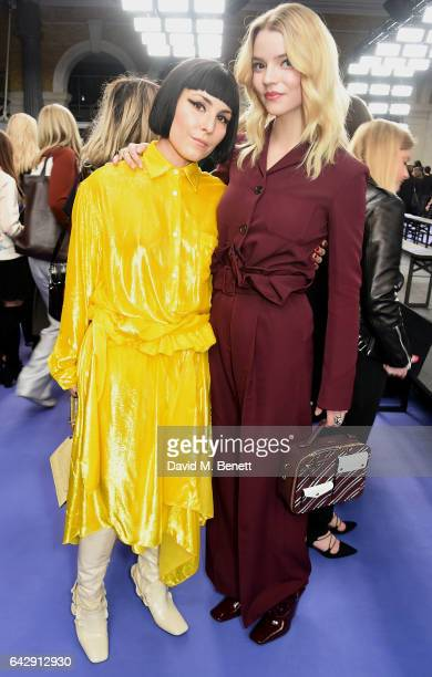 Noomi Rapace and Anya Taylor Joy attend the Mulberry Winter '17 LFW show at The Old Billingsgate on February 19 2017 in London England
