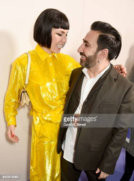 Noomi Rapace and Johnny Coca backstage at the Mulberry Winter '17 LFW show at The Old Billingsgate on February 19 2017 in London England