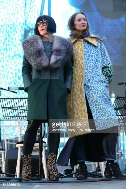Noomi Rapace and Lily Cole before the free screening of Asghar Farhadi's The Salesman in Trafalgar Square central London as the Iranian director is...