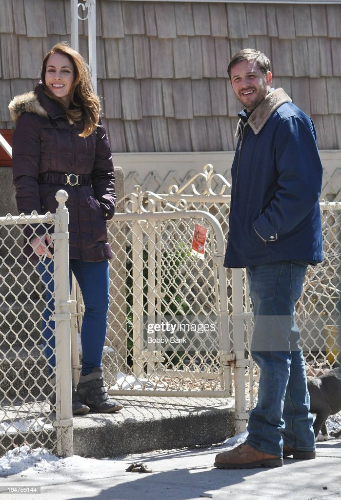 Noomi Rapace and Tom Hardy filming on location for 'Animal Rescue' on March 27, 2013 in the Brooklyn borough of New York City.
