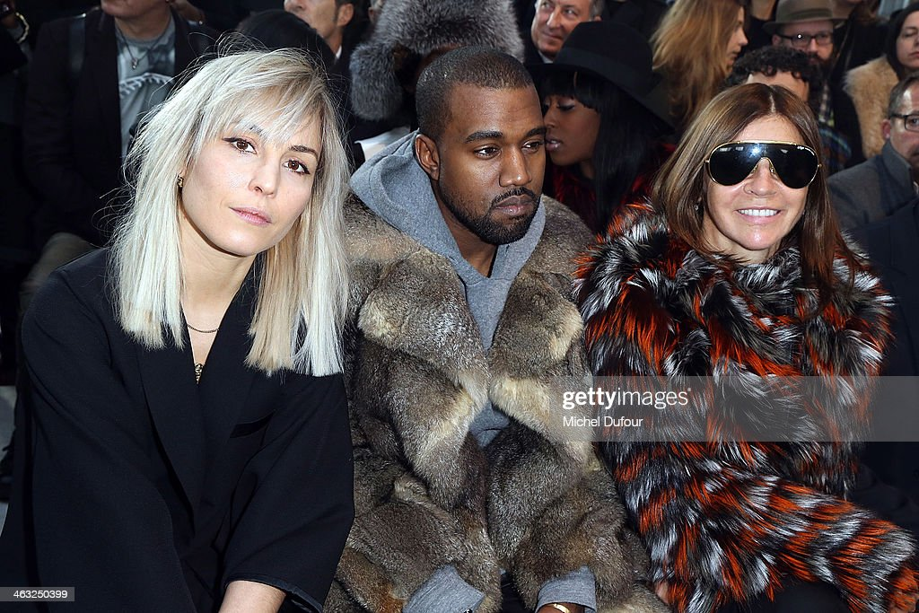 <a gi-track='captionPersonalityLinkClicked' href=/galleries/search?phrase=Noomi+Rapace&family=editorial&specificpeople=4522889 ng-click='$event.stopPropagation()'>Noomi Rapace</a>, <a gi-track='captionPersonalityLinkClicked' href=/galleries/search?phrase=Kanye+West+-+Musician&family=editorial&specificpeople=201803 ng-click='$event.stopPropagation()'>Kanye West</a> and <a gi-track='captionPersonalityLinkClicked' href=/galleries/search?phrase=Carine+Roitfeld&family=editorial&specificpeople=240177 ng-click='$event.stopPropagation()'>Carine Roitfeld</a> attend the Givenchy Menswear Fall/Winter 2014-2015 Show as part of Paris Fashion Week on January 17, 2014 in Paris, France.