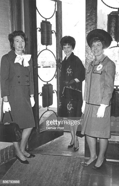 Noonday Arrivals At Country Club Arriving for a recent benefit luncheon at Cherry Hills Country Club are from left Mrs Herbert Koether Mrs Leonard...