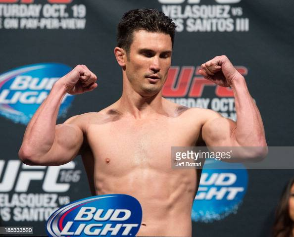Noons weighs in during the UFC 166 weighin at the Toyota Center on October 18 2013 in Houston Texas