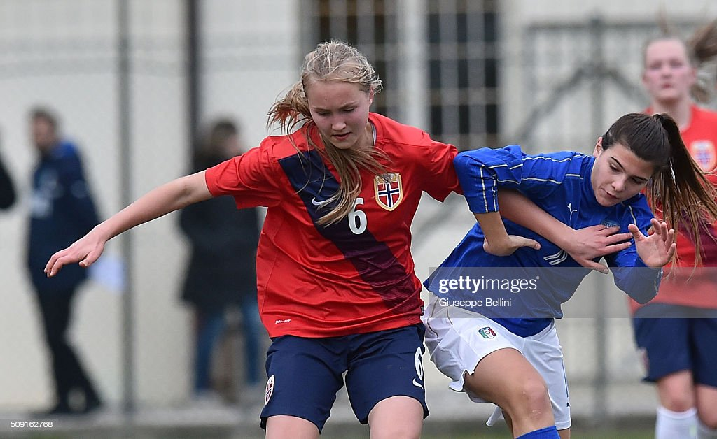 Noor Eckhoff of Norway and Sofia Cantore of Italy in action during the Women's U17 international friendly match between Italy and Norway on February 9, 2016 in Cervia, Italy.