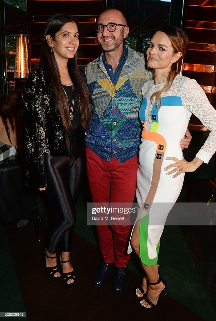 Noor Fares, Gianluca Longo and Maria Hatzistefanis attend a private dinner hosted by Rodial founder Maria Hatzistefanis & Bay Garnett at Casa Cruz on May 5, 2016 in London, England.