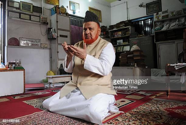 NoorurRahman Barkati Imam of Tipu Sultan Mosque offering Namaz at his office on January 11 2017 in Kolkata India A fatwa by Syed Md Nurur Rahman...