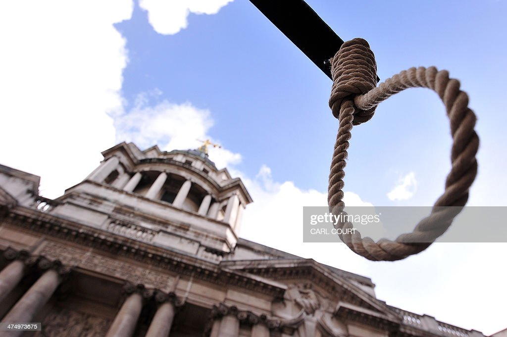 A noose is pictured during a demonstration outside the Old Bailey court in London, on February 26, 2014, ahead of the sentencing of Michael Adebolajo and Michael Adebowale for the killing of British soldier Lee Rigby in May 2013. Two Muslim extremists convicted of hacking British soldier Lee Rigby to death on a London street are due to be sentenced on Wednesday and face life in prison.