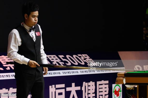 Noppon Saengkham of Thailand reacts during his first round match against Mark Selby of England on day two of Evergrande 2017 World Snooker China...