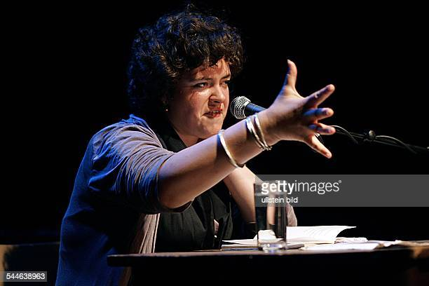 Nora E Gomringer slam poetry performer Germany performing at Junges Literaturhaus Cologne Germany