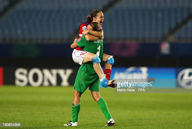 Nora Gjoen goalkeeper of Norway celebrate with team mate Melissa Bjanesoy after the FIFA U20 Women's World Cup 2012 group C match between Norway and...