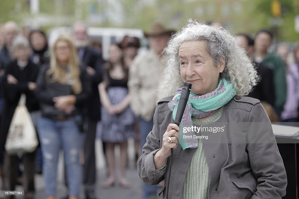 Nora Guthrie speaks during the ribbon cutting ceremony for the Woody Guthrie Center on April 27, 2013 in Tulsa, Oklahoma.