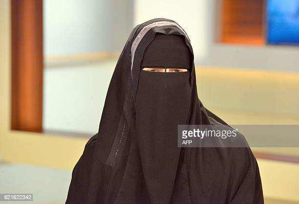 Nora Illi the women's representative of an unofficial group called the Islamic Central Committee of Switzerland wears a niqab as she attends a Sunday...