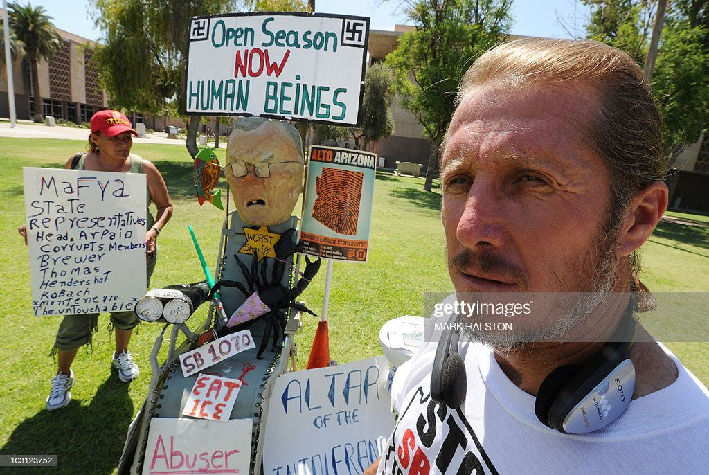 Nora Mendivil (L) and <b>Jorge Mendez</b> (R) demonstrate outside the Arizona State <b>...</b> - nora-mendivil-and-jorge-mendez-demonstrate-outside-the-arizona-state-picture-id103123752