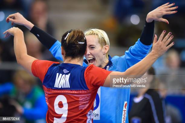 Nora Mork and Katrine Lunde of Norway in action during IHF Women's Handball World Championship group B match between Norway and Hungary on December...