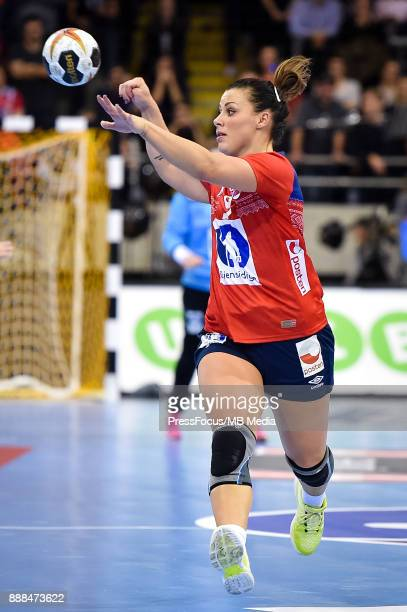 Nora Mork of Norway passes the ball during IHF Women's Handball World Championship group B match between Norway and Sweden on December 08 2017 in...