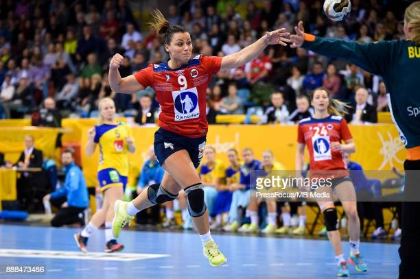 Nora Mork of Norway scores a goal during IHF Women's Handball World Championship group B match between Norway and Sweden on December 08 2017 in...