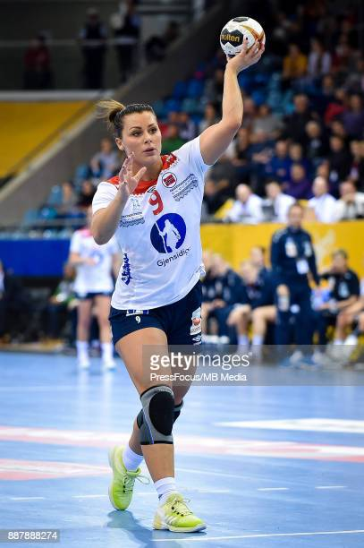 Nora Mork of Norway takes free throw during IHF Women's Handball World Championship group B match between Czech Republic and Norway on December 07...