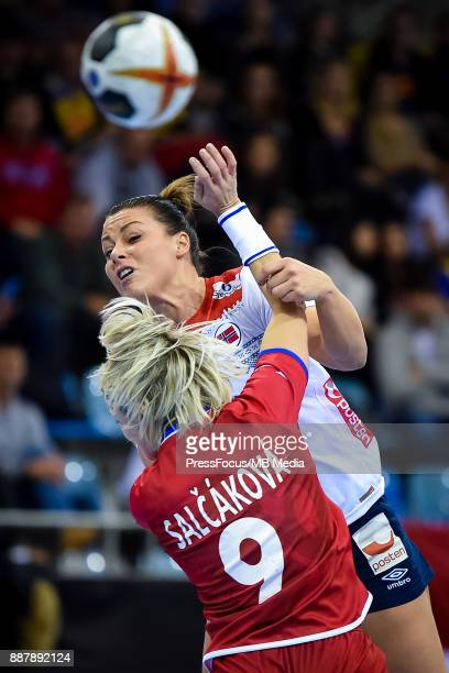 Nora Mork of Norway tries to score a goal during IHF Women's Handball World Championship group B match between Czech Republic and Norway on December...