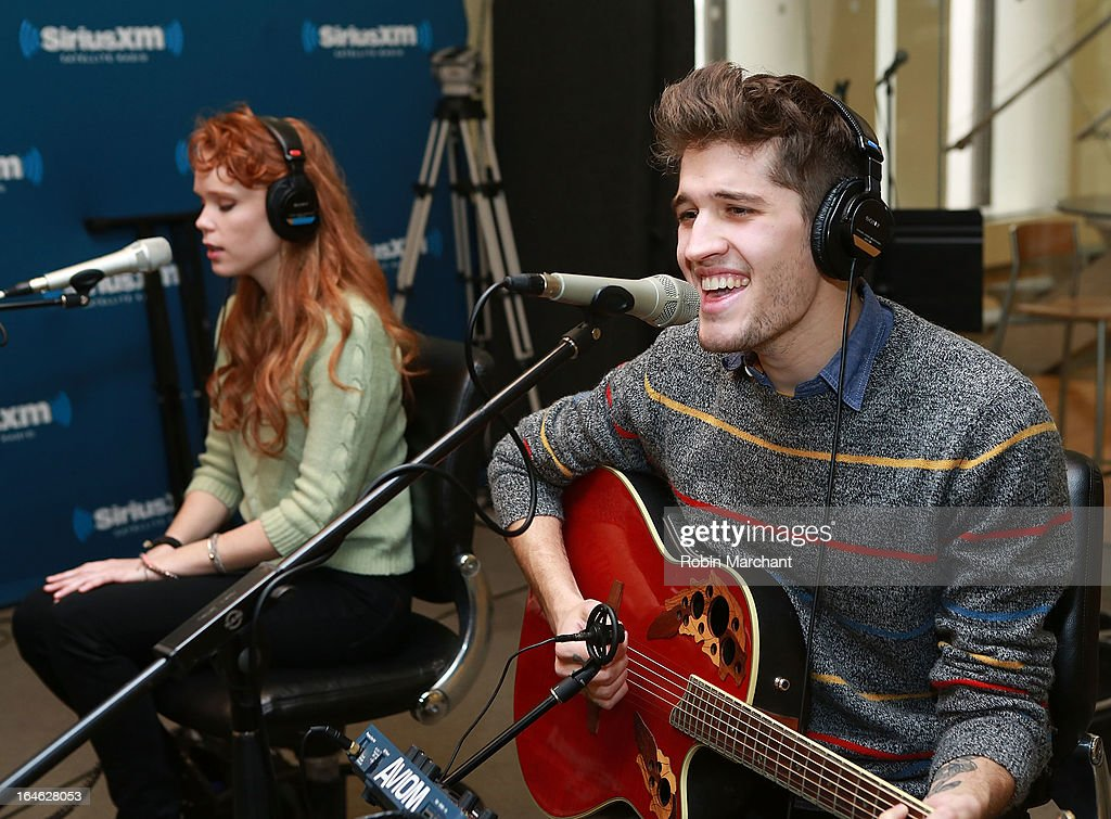 Nora Patterson (L) and Gary Larsen of Royal Teeth perform at SiriusXM Studios on March 25, 2013 in New York City.