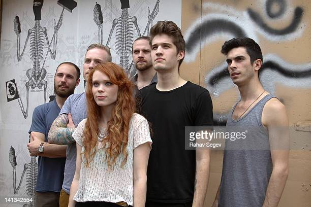 Nora Patterson and Gary Larsen of the band Royal Teeth with band mates attend The Warner Studio captured by Nikon at La Zona Rosa on March 14 2012 in...