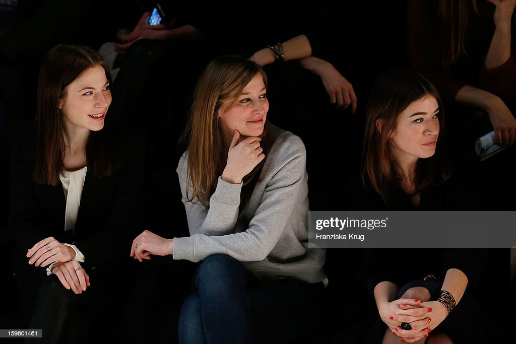 Nora von Waldstaetten, Alexandra Maria Lara and Angela Lang attend Schumacher Autumn/Winter 2013/14 Fashion Show during Mercedes-Benz Fashion Week Berlin at Brandenburg Gate on January 17, 2013 in Berlin, Germany. on January 17, 2013 in Berlin, Germany.
