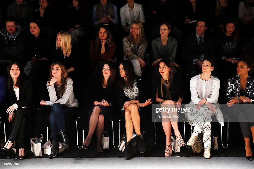 Nora von Waldstaetten, Alexandra Maria Lara, Angela Lanz, Bettina Zimmermann, Nadine Warmuth, Bibiana Beglau and Dennenesch Zoude attend Schumacher Autumn/Winter 2013/14 Fashion Show during Mercedes-Benz Fashion Week Berlin at Brandenburg Gate on January 17, 2013 in Berlin, Germany. on January 17, 2013 in Berlin, Germany.