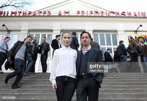 Nora von Waldstaetten and Tom Schilling arrive for the premiere of the film 'Woyzeck' at Filmtheater am Friedrichshain on April 20 2013 in Berlin...