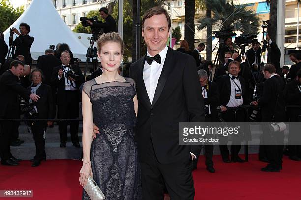 Nora von Waldstaetten Lars Eidinger attend the 'Clouds Of Sils Maria' premiere during the 67th Annual Cannes Film Festival on May 23 2014 in Cannes...