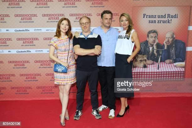 Nora Waldstaetten Simon Schwarz Sebastian Bezzel and Lisa Maria Potthoff during the 'Griessnockerlaffaere' premiere at Mathaeser Filmpalast on August...